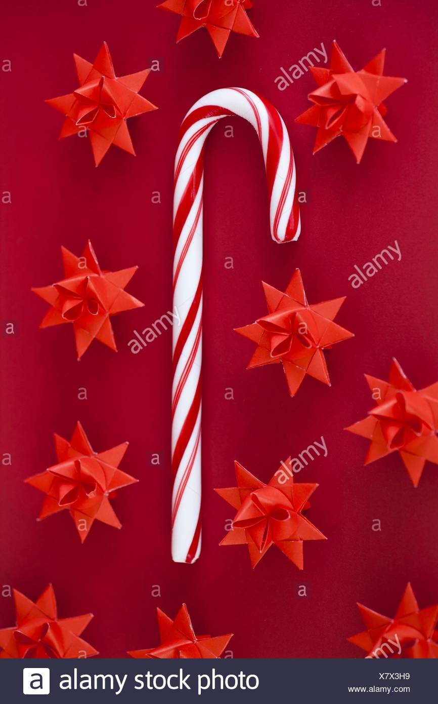 candy cane and danish christmas star decorations