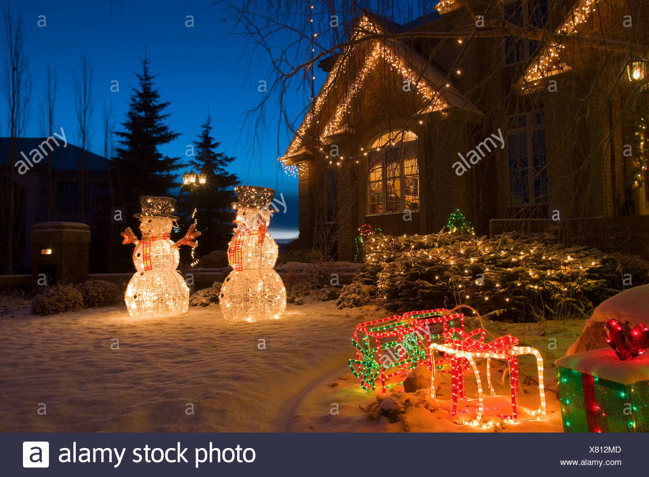 christmas lights and snowmen outside house