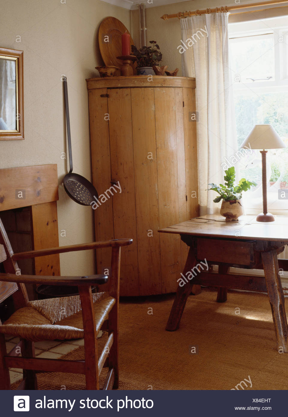 Curved antique pine corner cupboard in Shaker style dining room with rush  seated chair and small antique table - Curved Antique Pine Corner Cupboard In Shaker Style Dining Room With