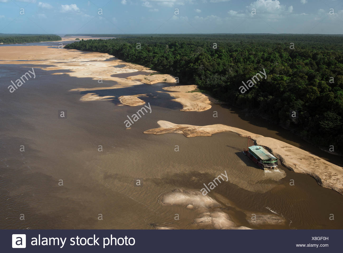 gold dredger on essequibo river the longest river in guyana south