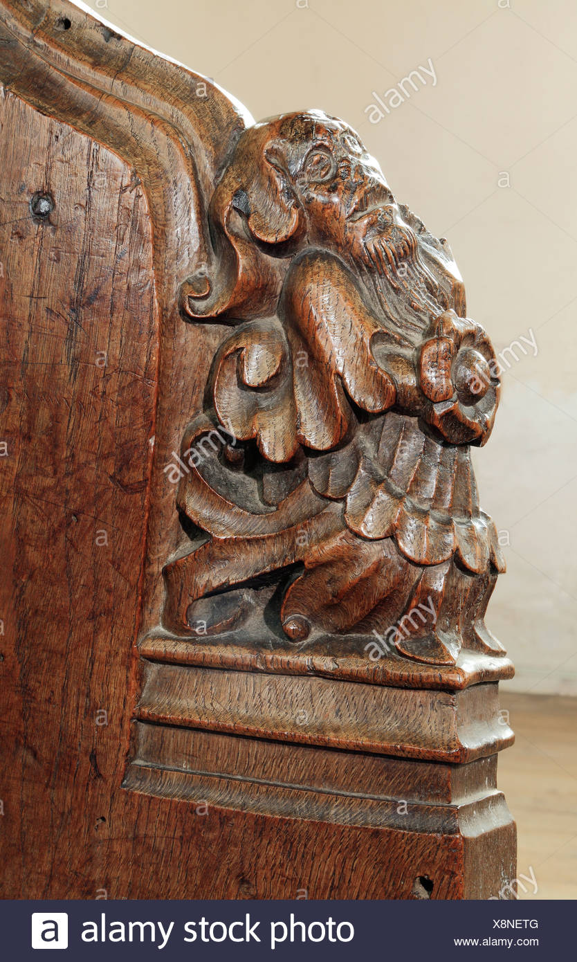 Medieval 15th century wooden bench end thornham norfolk england uk