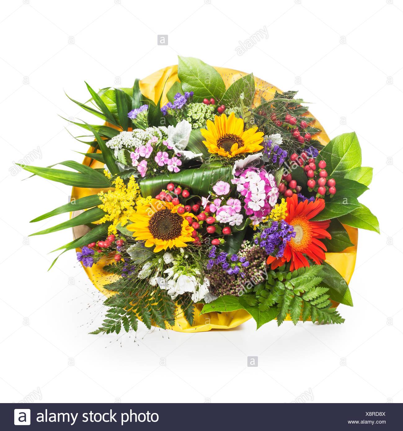 Beautiful bouquet of summer flowers wrapped in yellow paper on white beautiful bouquet of summer flowers wrapped in yellow paper on white background mightylinksfo