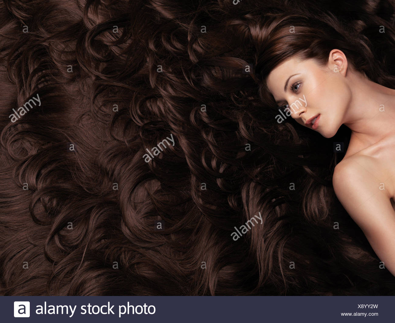 Woman With Very Long Brown Hair Hair Extensions Stock Photo