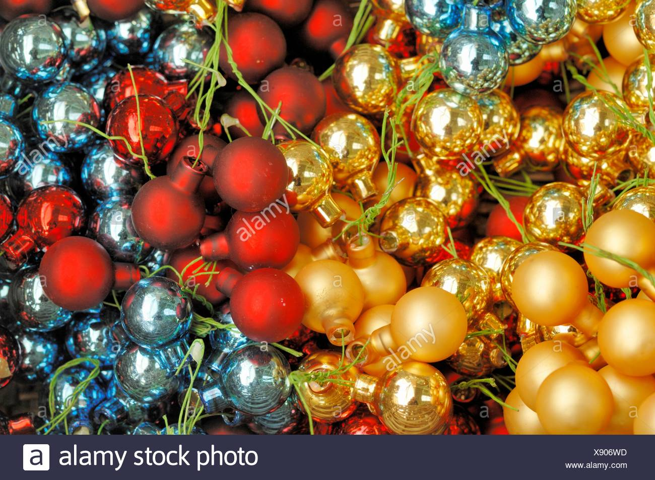 small christmas tree balls of different colors close up - Small Christmas Tree Ornaments
