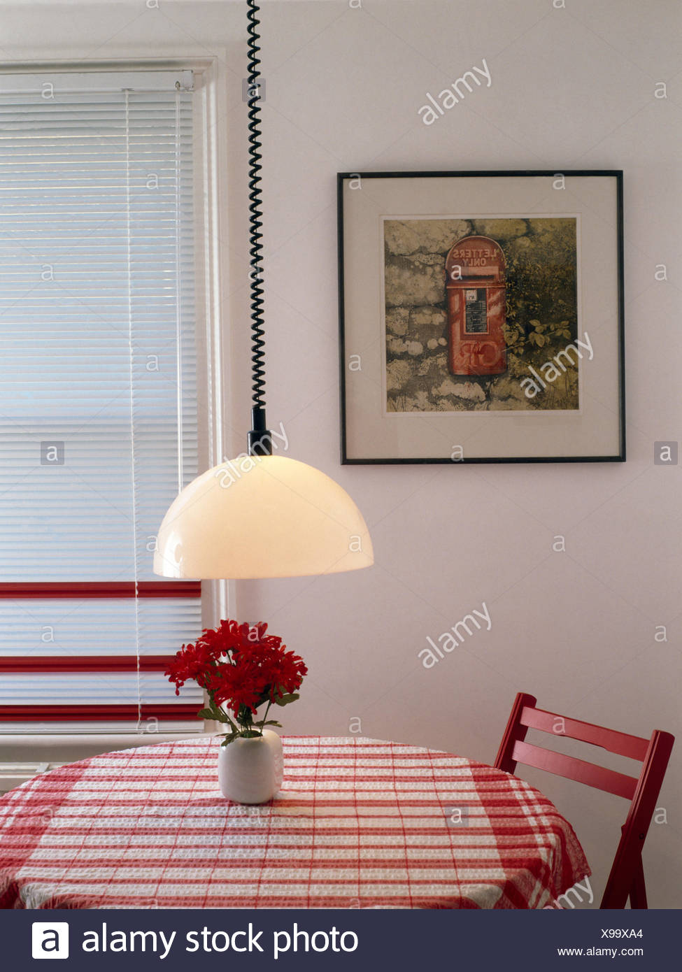 Pendant Light Above Table With Red Checked Cloth In Seventies Dining Room