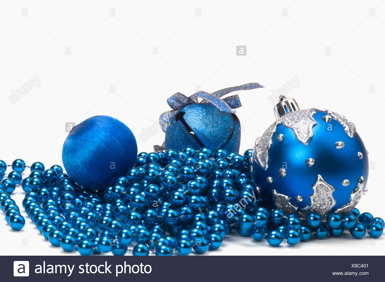 three blue christmas ornaments on string of blue beads - Blue Christmas Ornaments