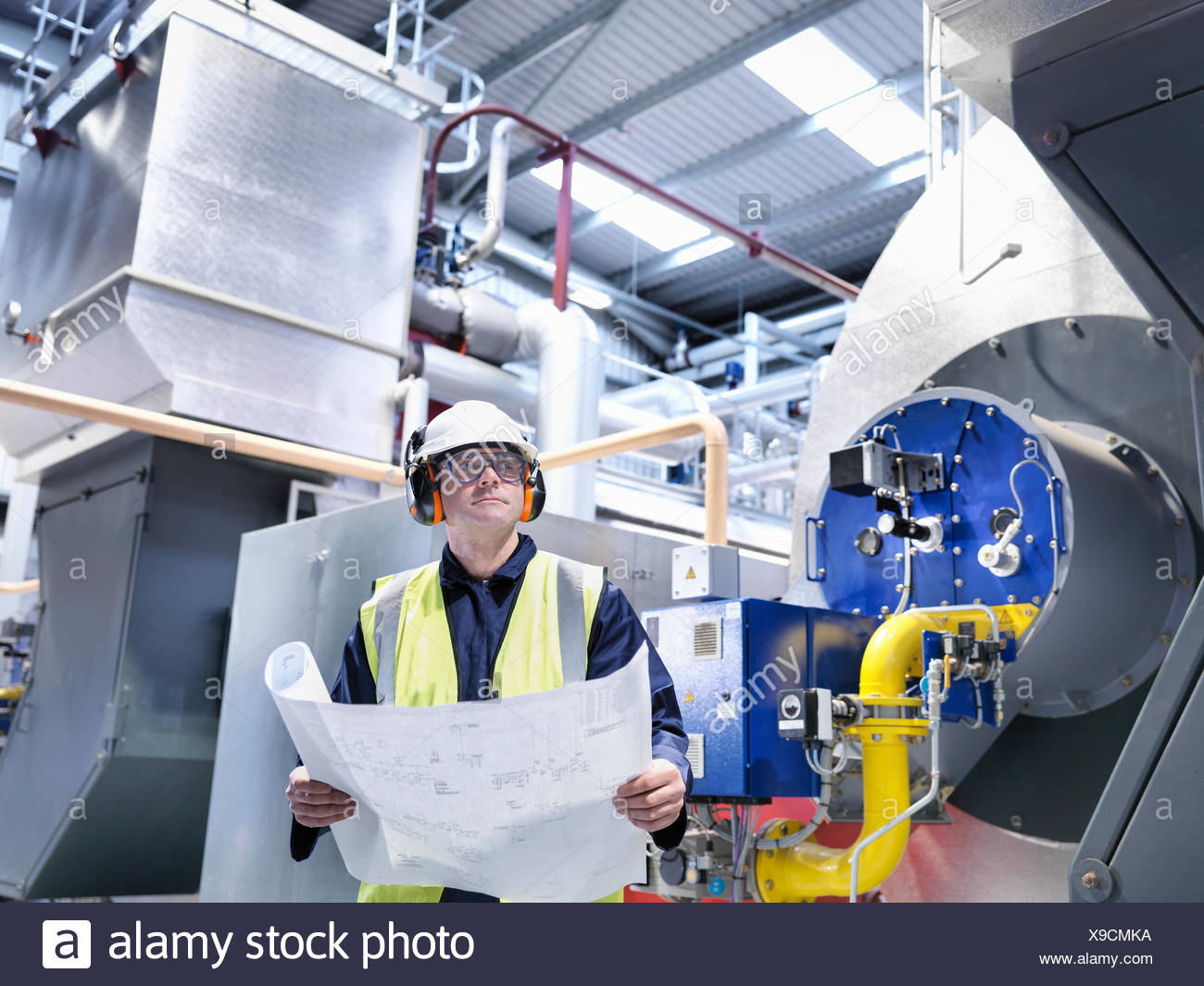Gas Power Plant Schematic Electrical Wiring Diagrams Coal Diagram Worker With Drawings In Fired Station Stock