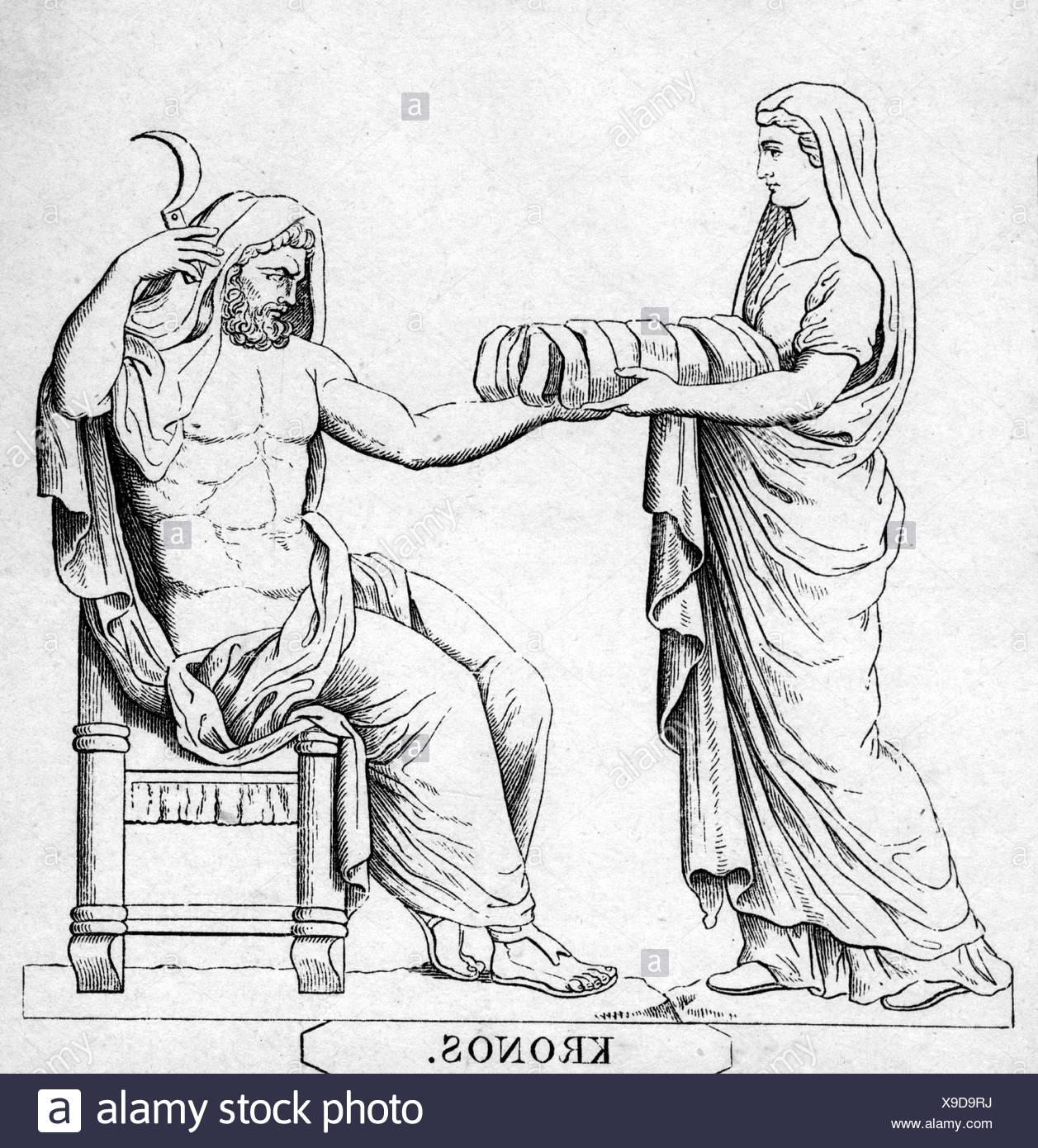 Cronus stock photos cronus stock images alamy cronus greek god half length his sister and wife rhea handing him a buycottarizona Images