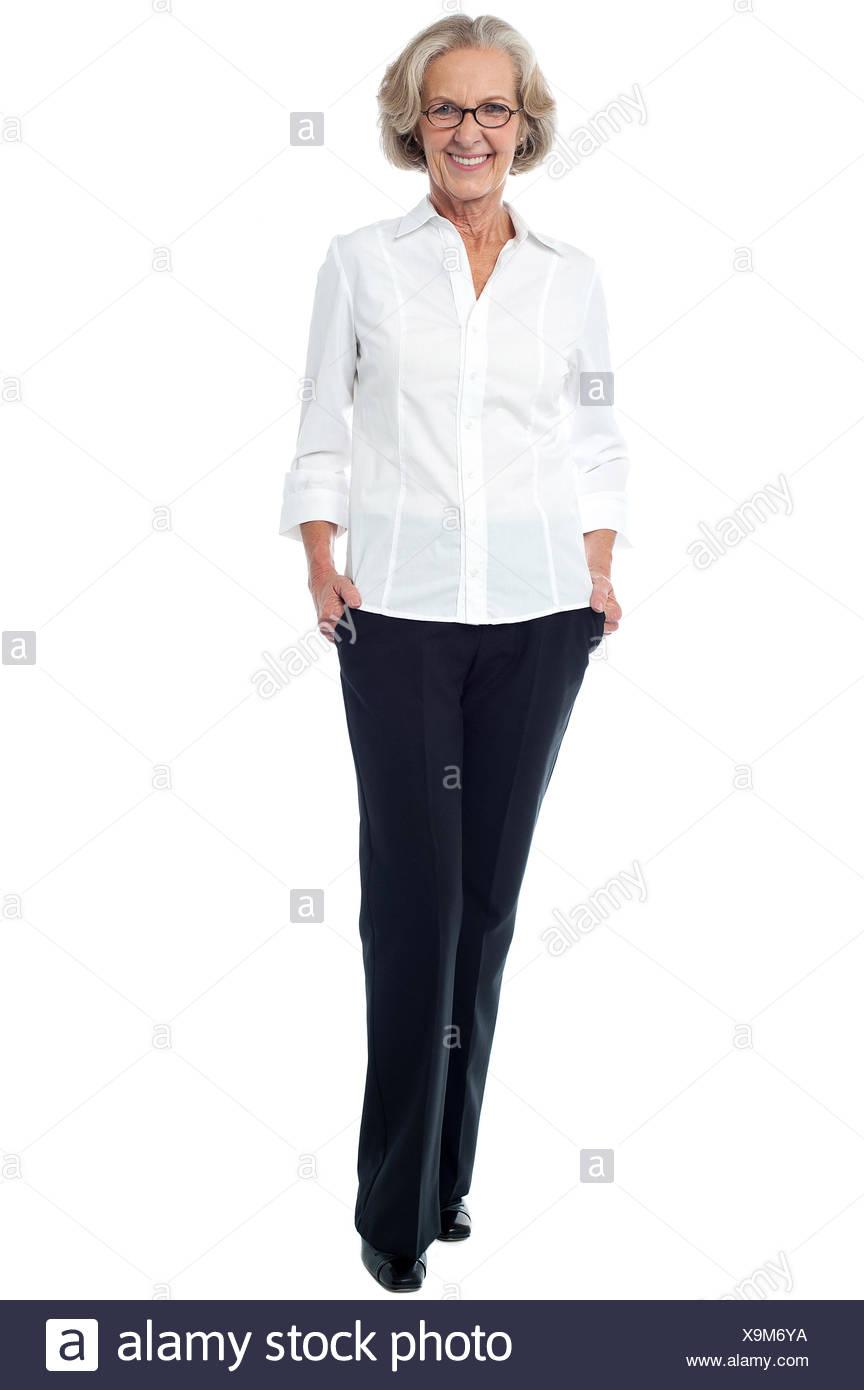 aged woman in corporate attire stock photo 281342302 alamy