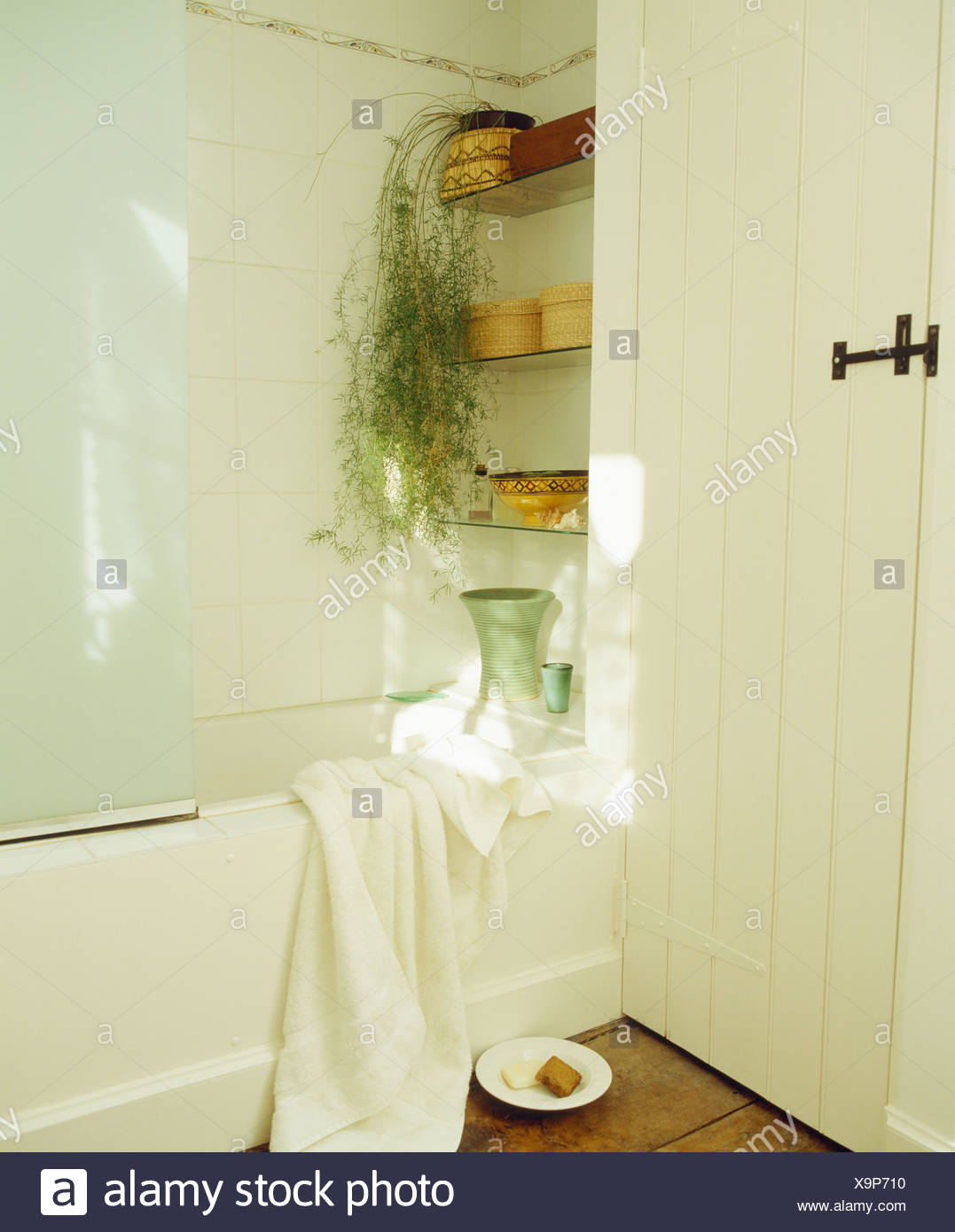 Trailing green houseplant on glass shelves above bath in white ...