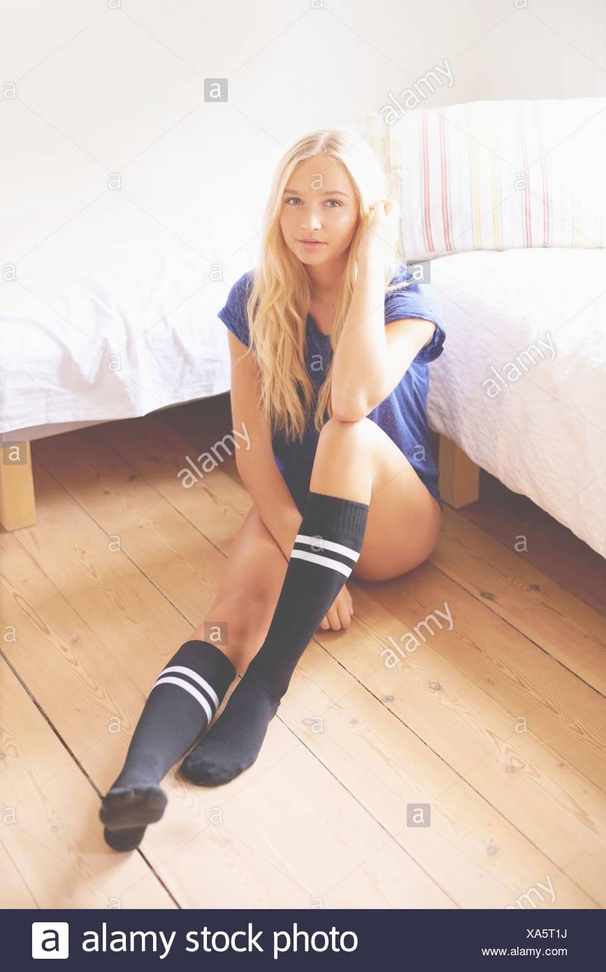Portrait Of Teen   Girl Wearing Knee High Socks