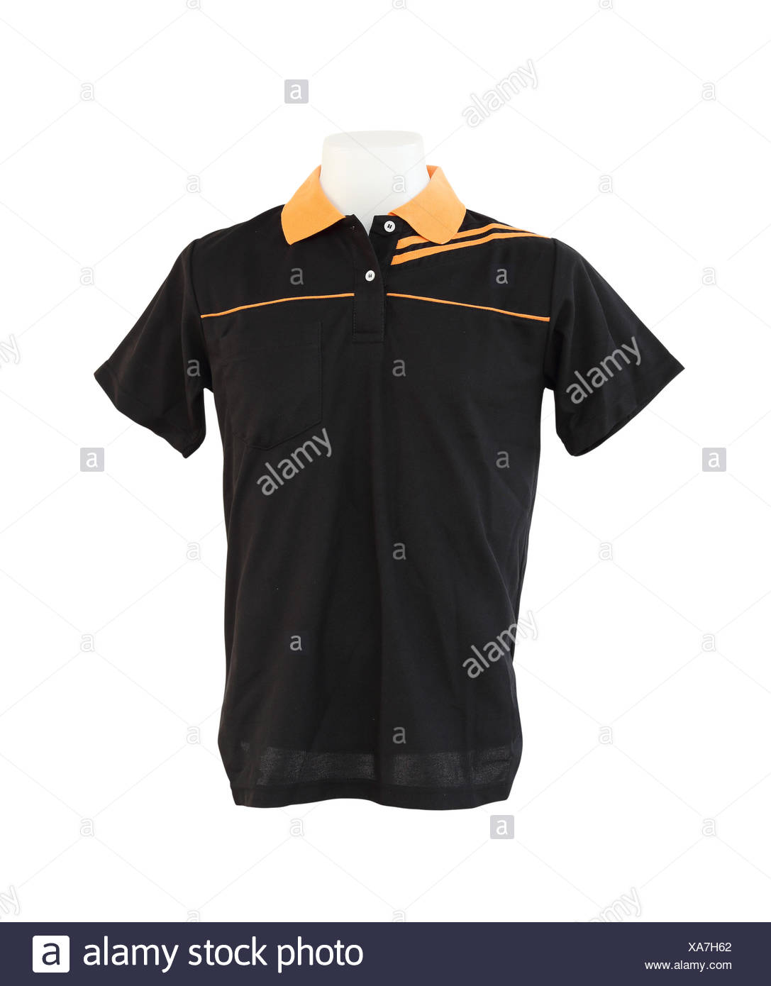 male shirt template on the mannequin on white background stock photo
