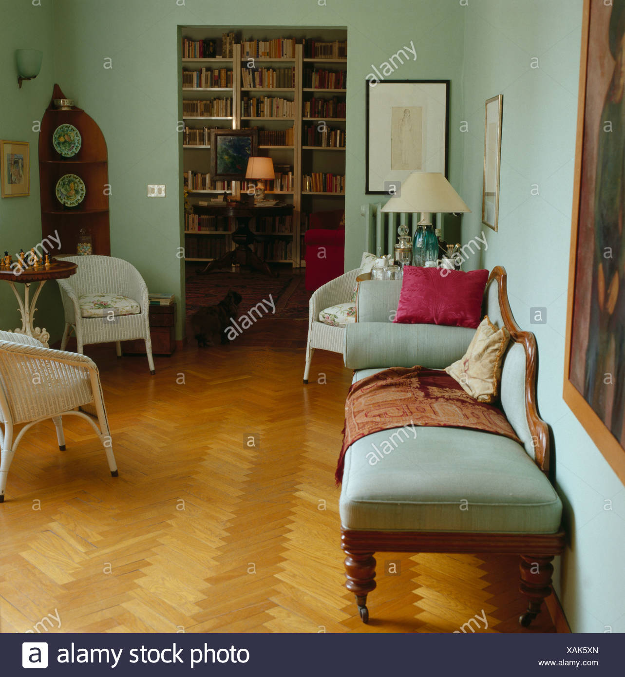 Parquet floor in pastel green living room with antique chaiselongue on antique daybed, antique commode, antique fountain, antique sofas, antique chaise couch, antique chalice, antique dresser, antique beds, antique egg, antique french country, antique recliner, antique glider, antique fabric, antique fainting couch, antique chair, antique books, antique chaise lounge, antique armchairs, antique lighting, antique parasol,