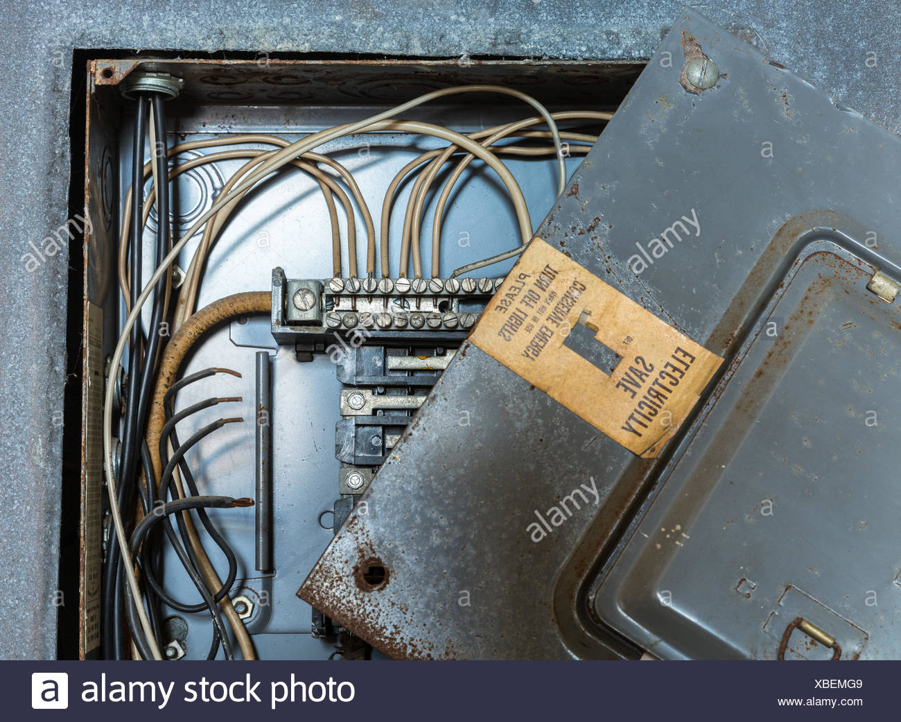 Old Wiring Box Schematic Diagrams House Electrical Distribution Or Stock Photo 282450569 Alamy Breaker