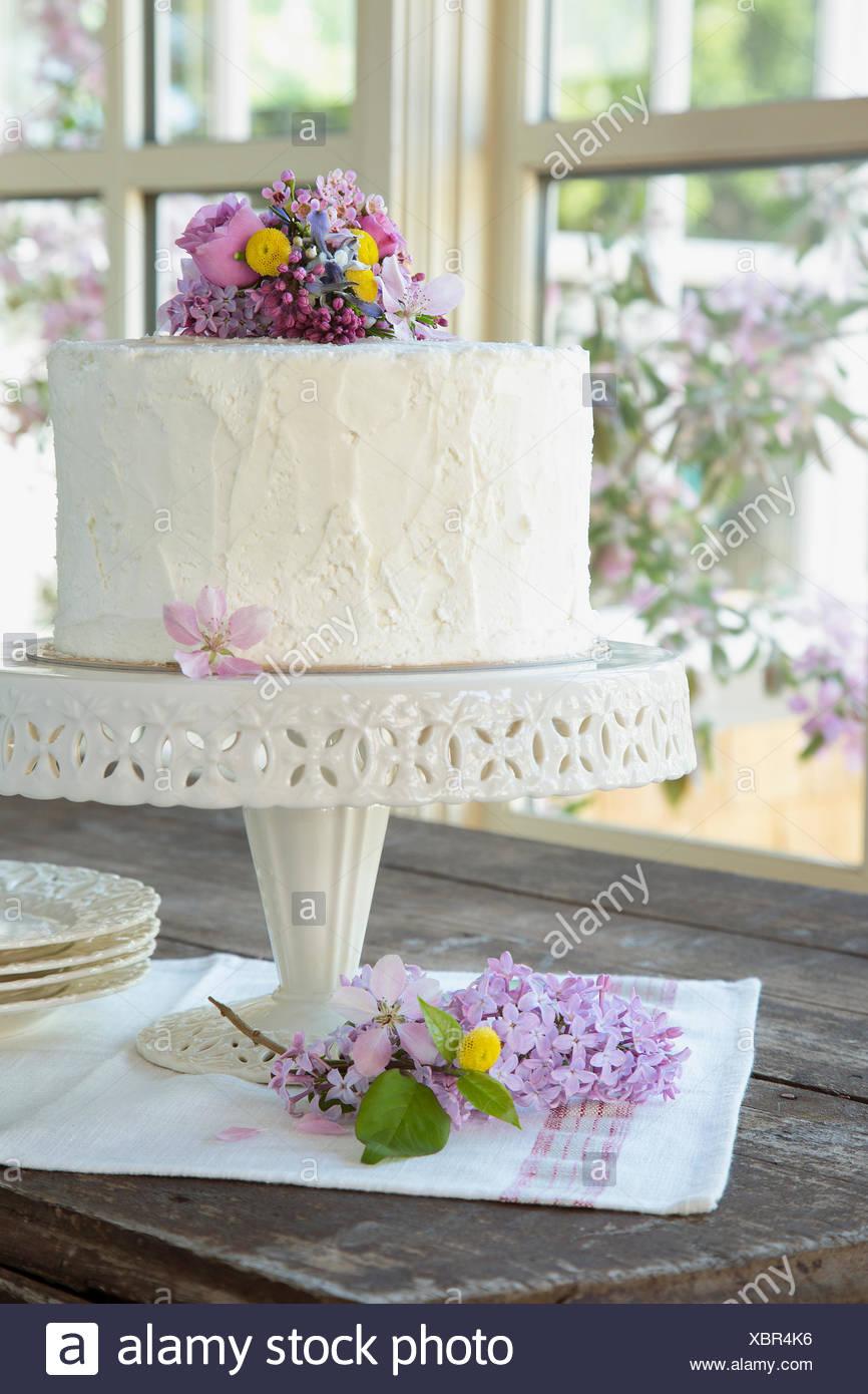Spring Flowers On White Birthday Cake Stock Photo 282635674 Alamy