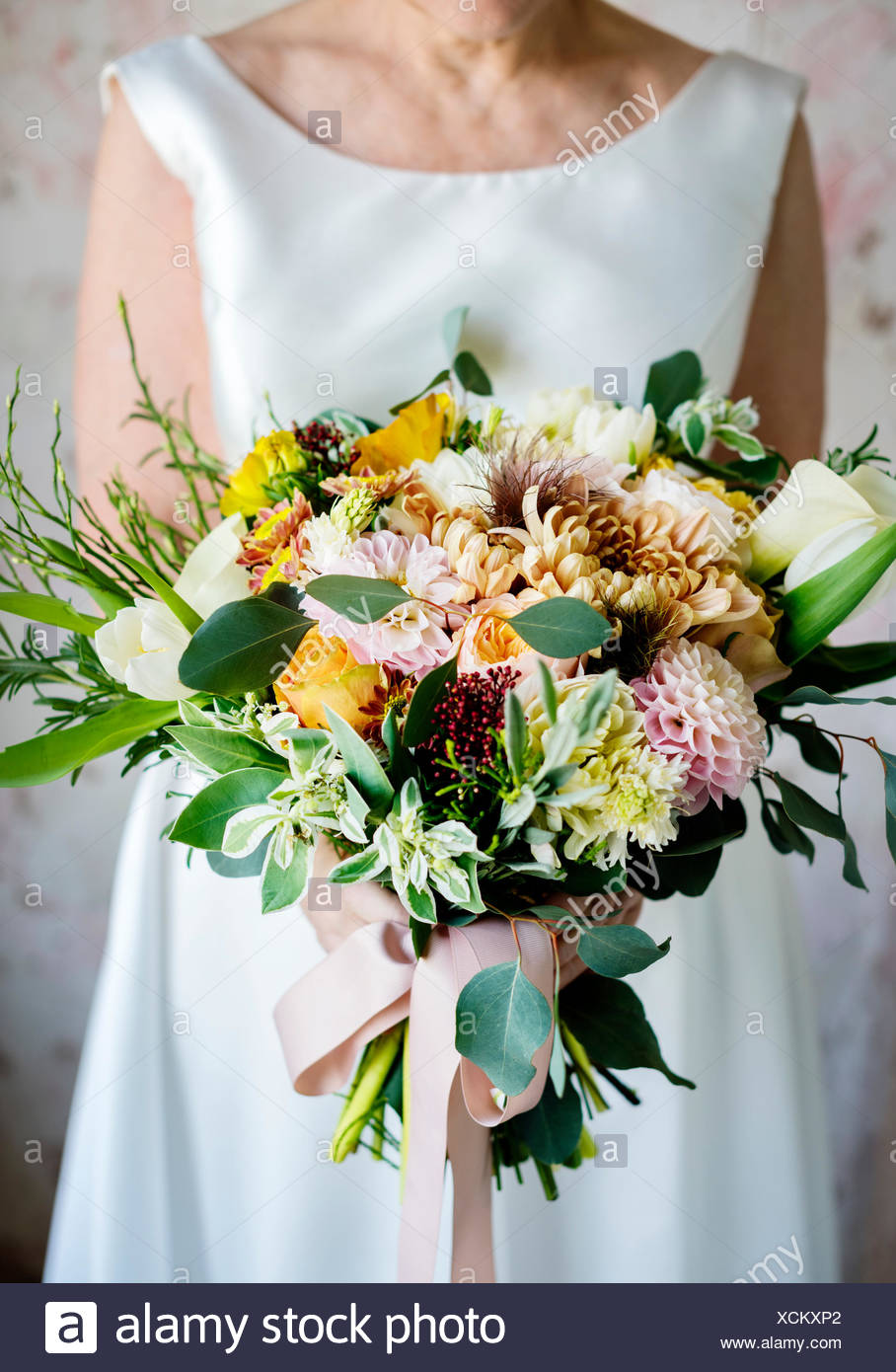 Bride Holding Flower Bouquet Wedding Engagement Ceremony Stock Photo