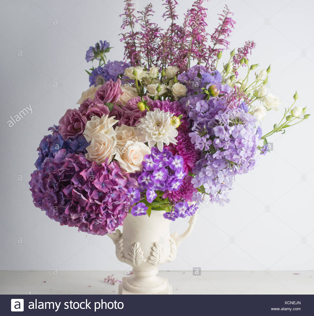 FORMAL FLOWER BOUQUET WITH HYDRANGEA ROSES DAHLIAS AND PHLOX Stock ...