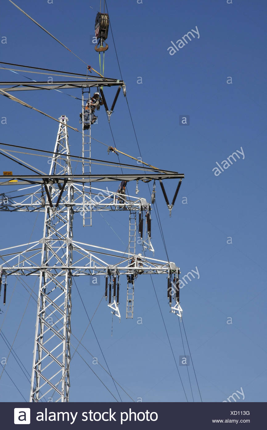 High Tension Circuit Masts Assemblers Energy Economy Current Power In Circuits Electricity Supply Mast Poles Line