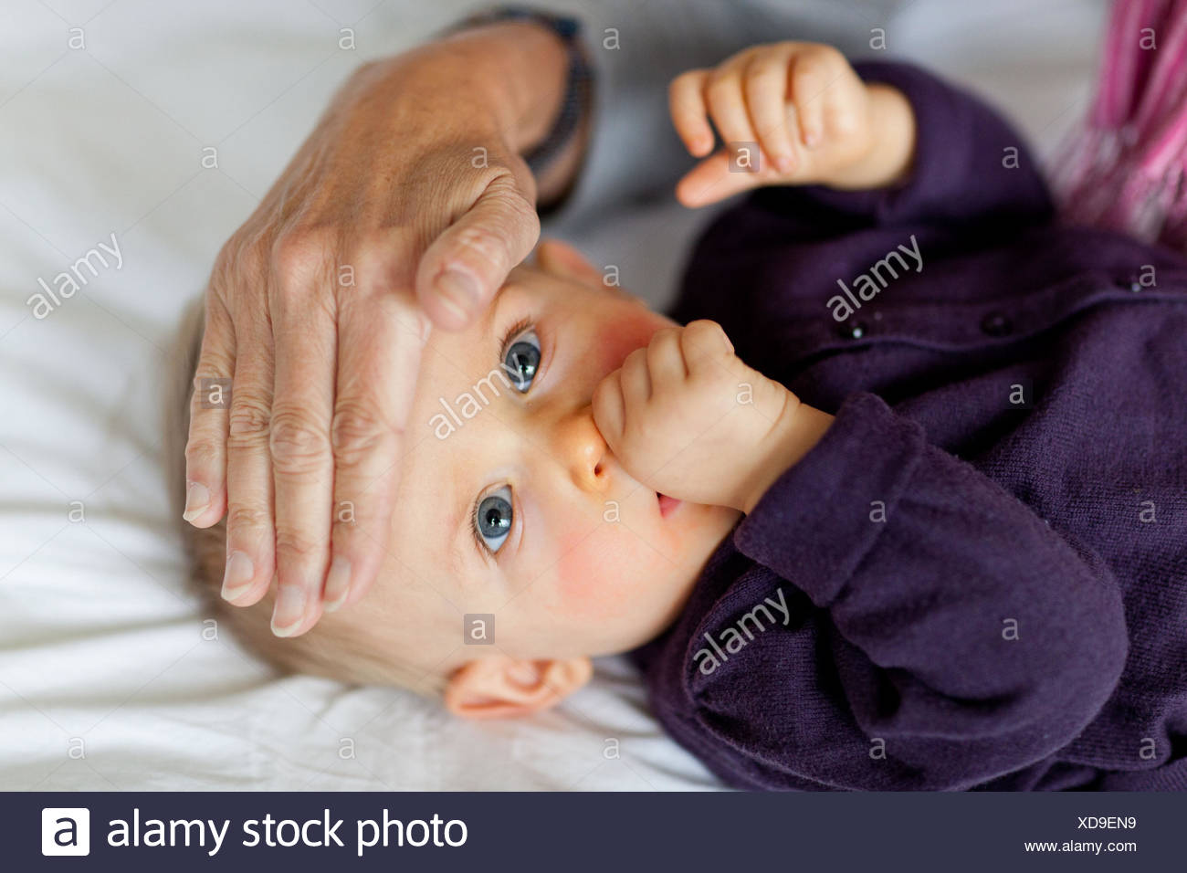 Hand checking temperature of 10-month-old baby's head.