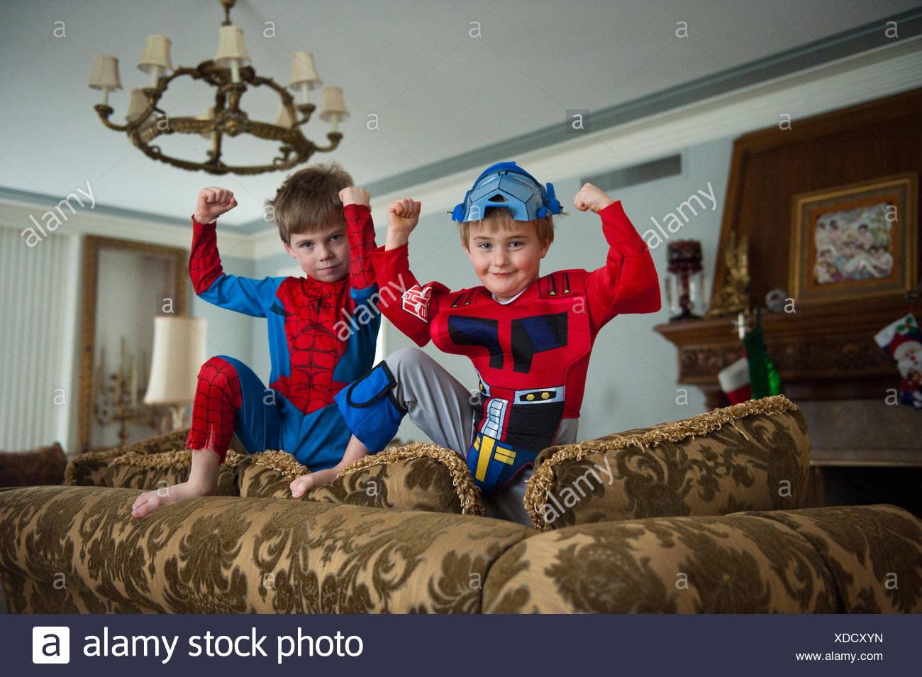 two brothers pose in their halloween costumes at their home in lincoln nebraska