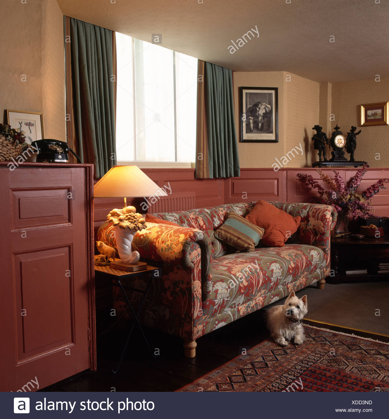 Small White Dog In Eighties Living Room With Patterned Chesterfield Sofa  And Brown Half Panelling On Walls