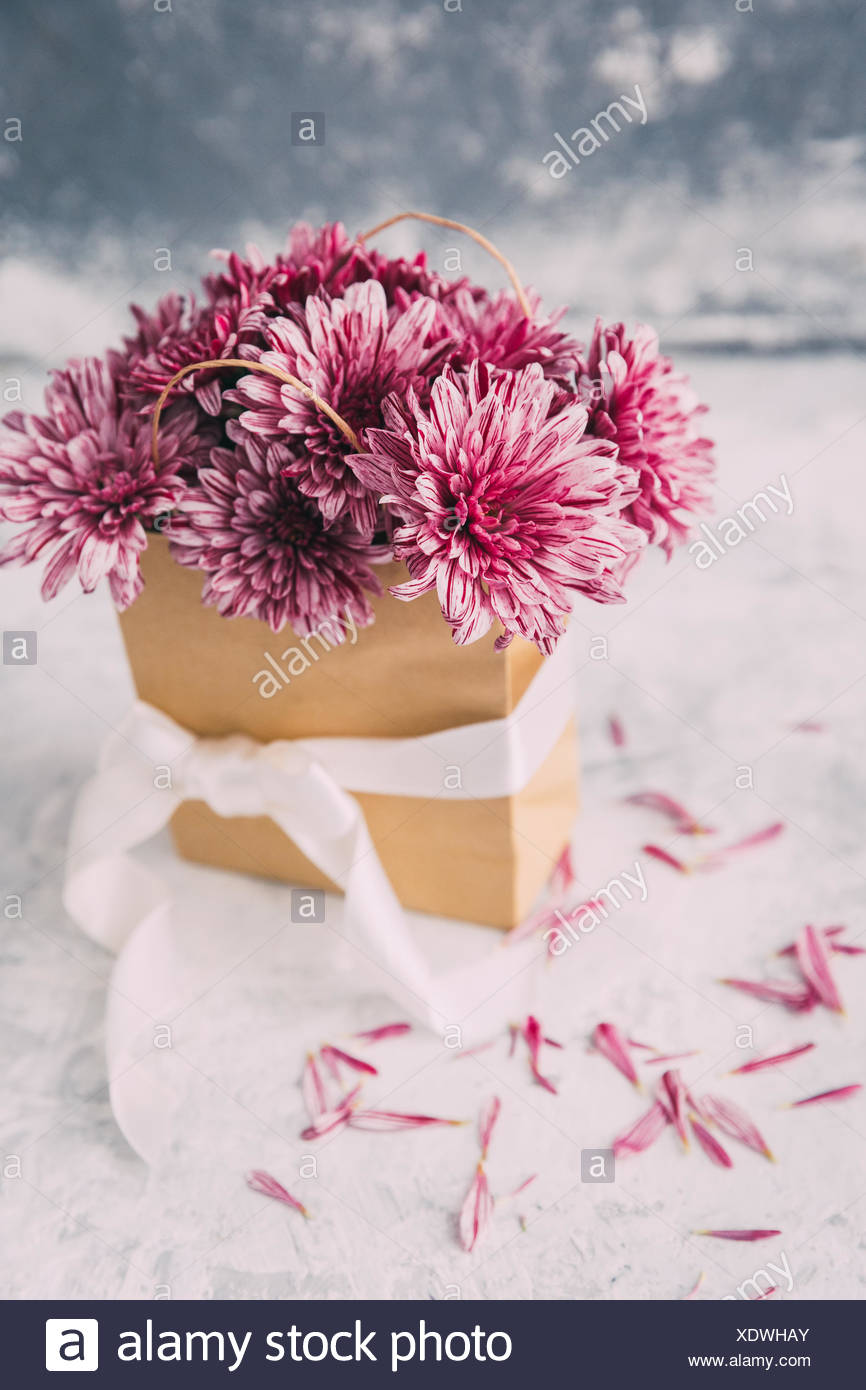 Pink Flowers In A Paper Bag Stock Photo 283918851 Alamy