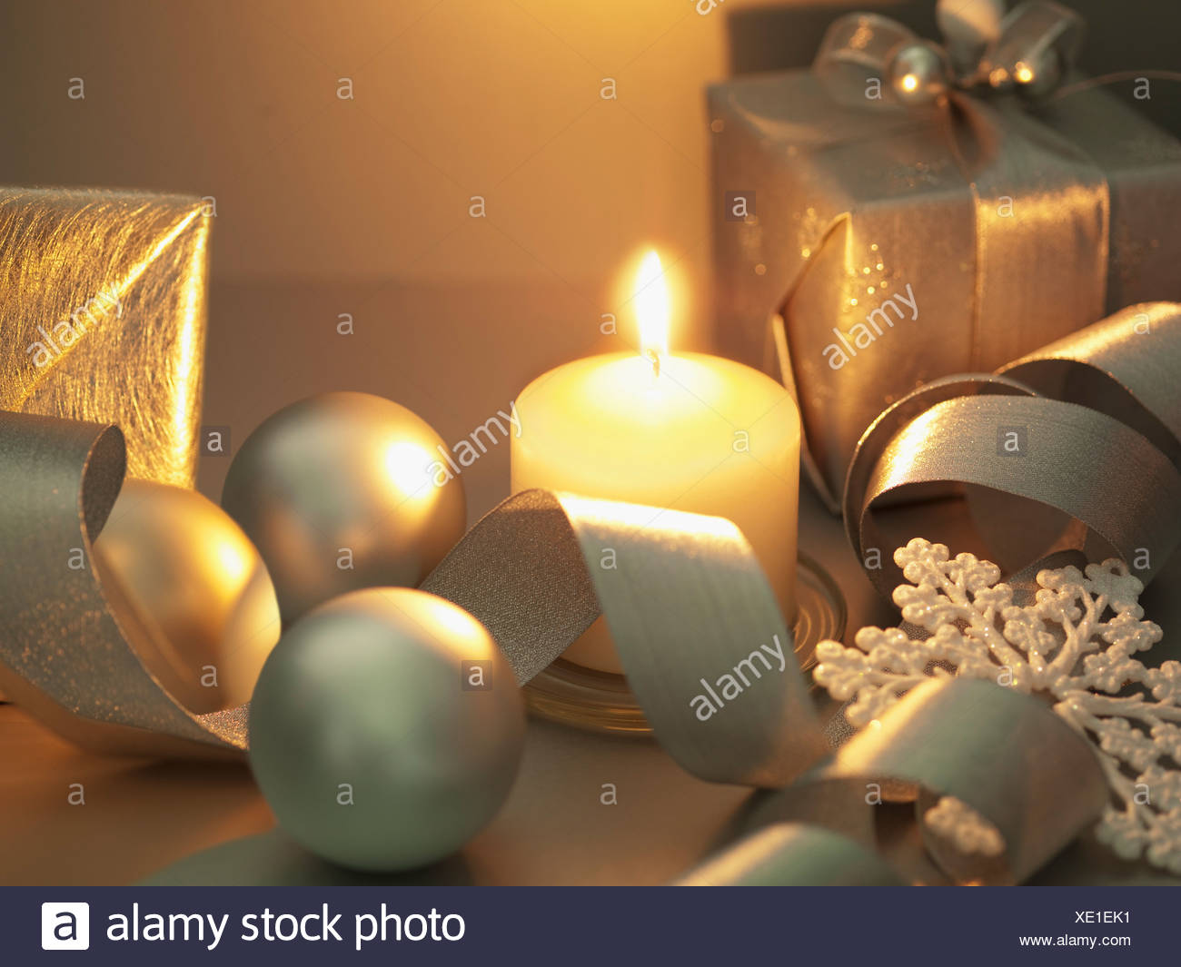 Christmas gifts, ornaments and candle Stock Photo: 284004533 - Alamy