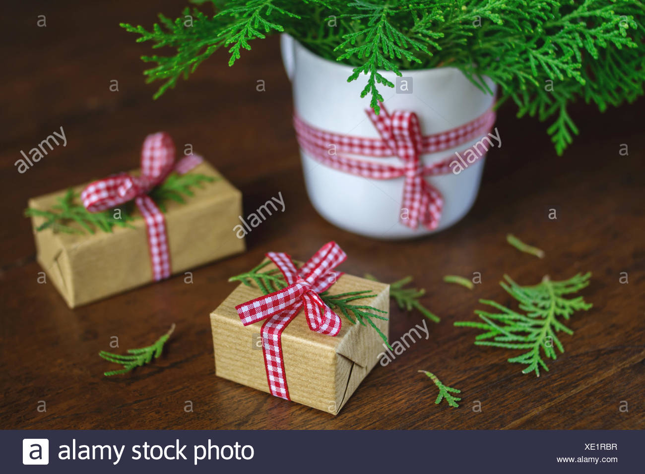 christmas gift boxes decorated with green juniper - Decorative Christmas Gift Boxes
