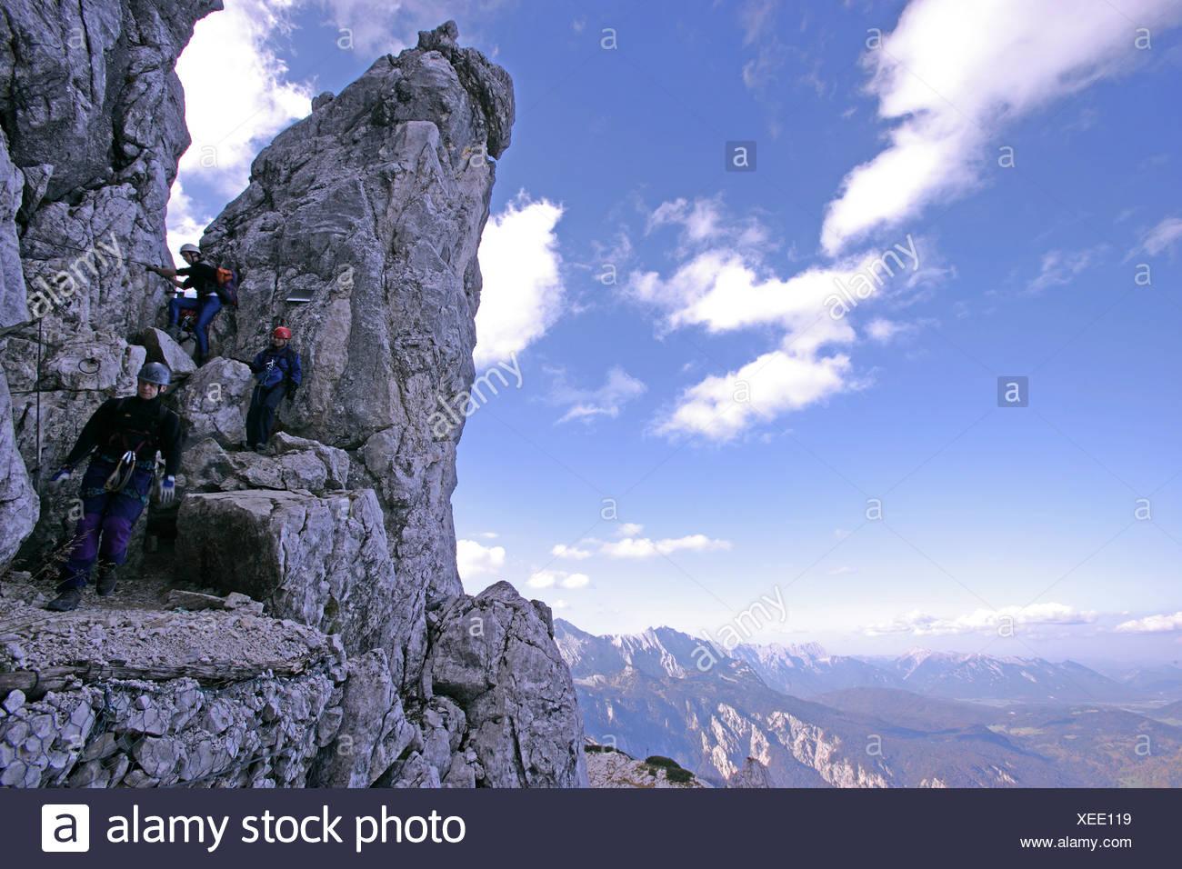 hikers on mounth alpspitze wetterstein range bavaria germany