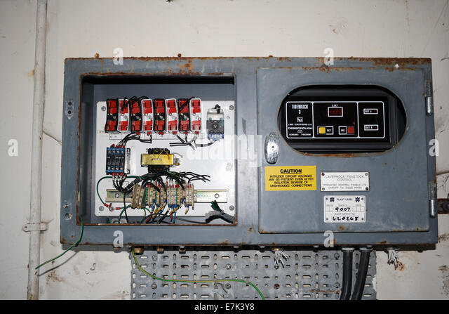a vandalised distribution fuse box in an old monitoring building at e7k3y8 building fuse box location diagram wiring diagrams for diy car pennies fuse box at cos-gaming.co