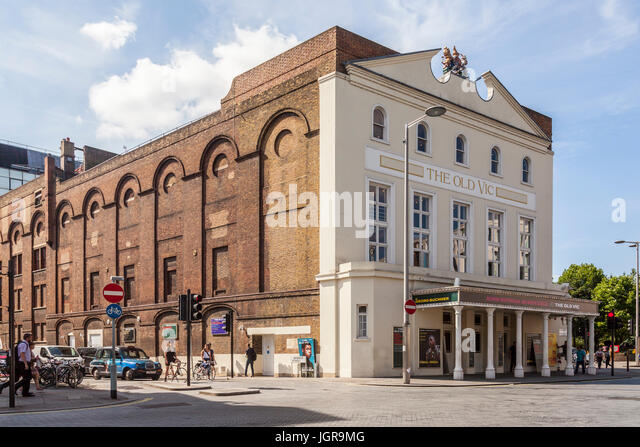Exterior of the Old Vic, a famous 1000-seater theatre in the Lambeth borough of South London. - Stock Image