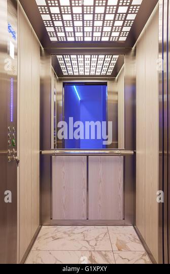 Elevator interior mirror stock photos elevator interior for Modern elevator design