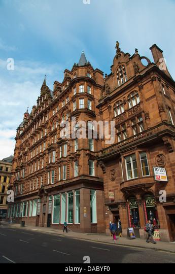 Red Sandstone Victorian Era Architecture Hope Street Central Glasgow Scotland Britain UK Europe