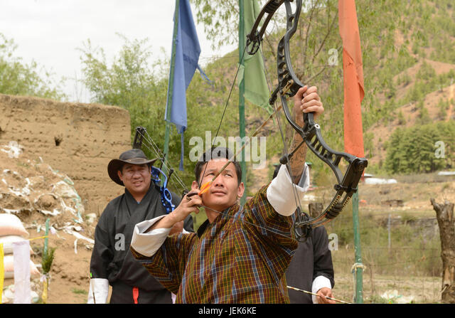 Man practicing the national sport of archery, Thimphu, Bhutan, asia - Stock Image
