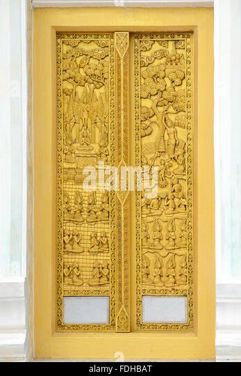 temple door of wood carve - Stock Image