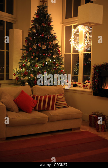 Christmas Tree In Living Room cosy christmas tree stock photos & cosy christmas tree stock