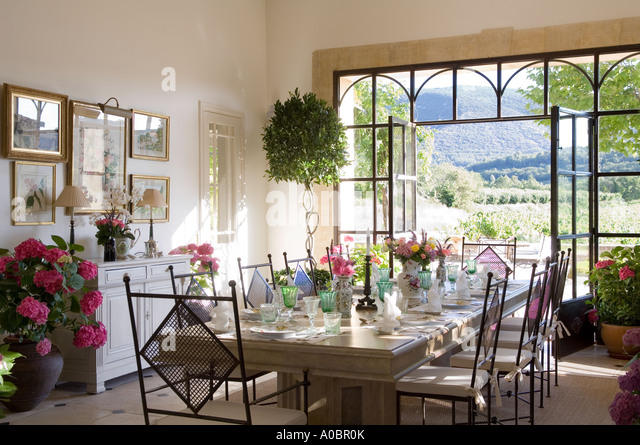Dining Room Table Set In With Open Double Doors