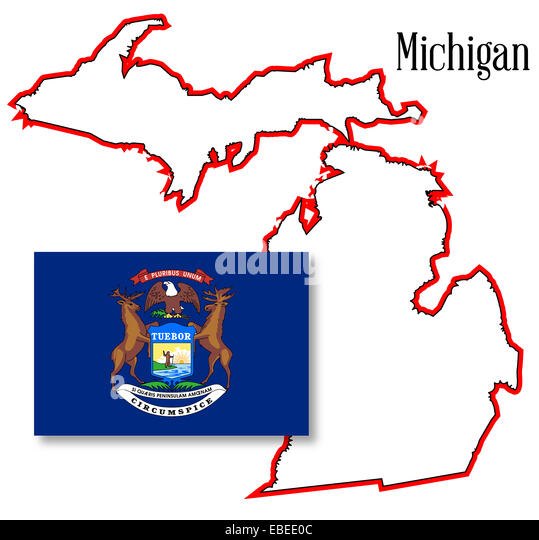 Map State Michigan American Flag Stock Photos Map State Michigan - Map of the state of michigan