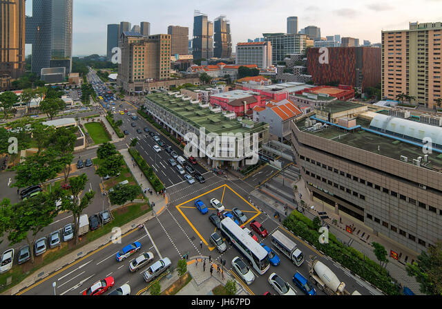 Bugis village junction traffic intersection in busy singapore shopping and entertainment district stock image