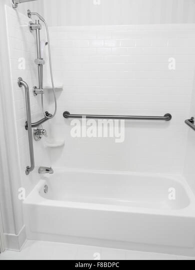 Handicapped Disabled Access Bathroom Bathtub Shower With Grab Bars Stock Image
