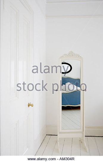 Empty bedroom with mirror and bed   Stock Image. Empty Bedroom Space Stock Photos   Empty Bedroom Space Stock