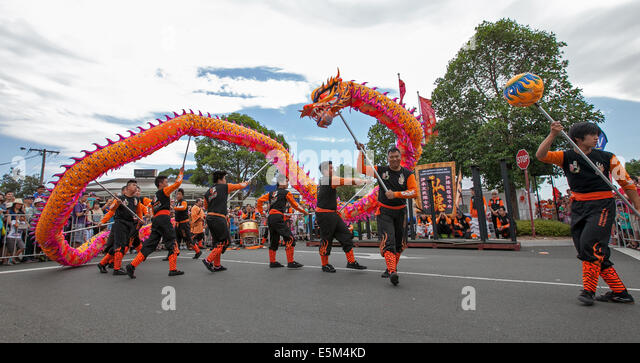 dragon dance during chinese new year celebrations melbourne australia stock image - Chinese New Year Dragon Dance