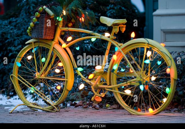 Bicycle Christmas Lights Colorful Stock Photos & Bicycle Christmas ...