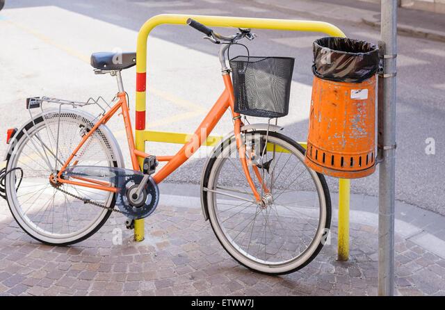 Trash orange stock photos trash orange stock images alamy - Rd wastebasket ...