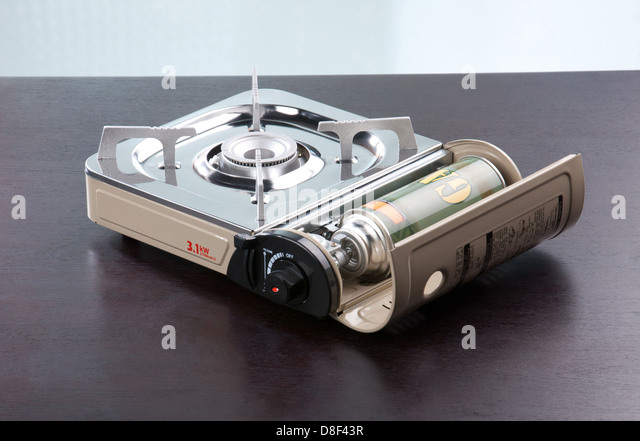 Portable Gas Stove For Picnic, Camping, Hiking Or Outdoor Activities    Stock Image