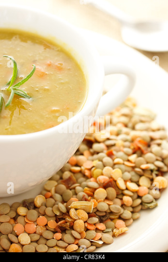 Hot Bowl of Lentil Soup with Dried Lentils for Decoration - Stock ...