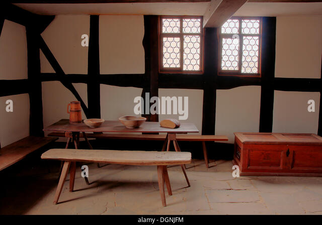 Servants Quarters In A Farmhouse From The 18th Century Hessenpark Open Air Museum