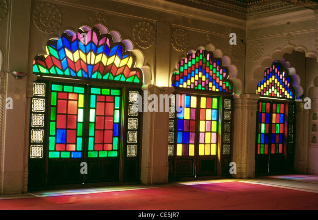Beautiful Stained Colored Glass Door In Palace Of Mehrangarh Fort ; Jodhpur ;  Rajasthan ; India