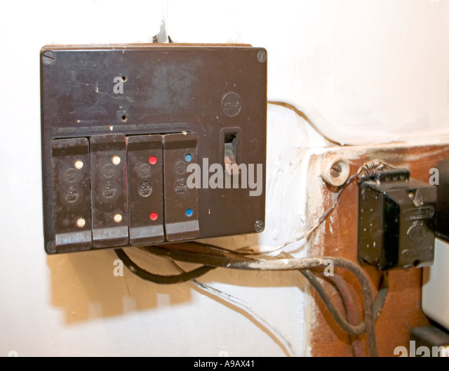 domestic electric fuse box in unsafe condition wales uk a9ax41 1950s closed fuse boxes diagram wiring diagrams for diy car repairs General Electric Fuse Box at fashall.co