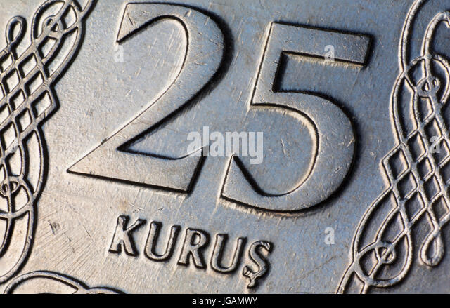 turkish money twenty five 25 kurus coin macro stock image